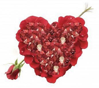 Романтическое признание в виде сердца из лепестков роз со стрелой Амура